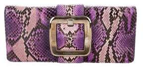 Michael Kors Python Buckle Clutch - PURPLE - STYLE