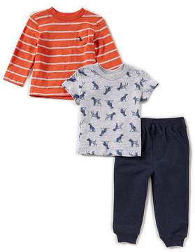 Little Me Baby Boys 12-24 Months Dog-Print Tee, Striped Long-Sleeve Tee, & Pants 3-Piece Set
