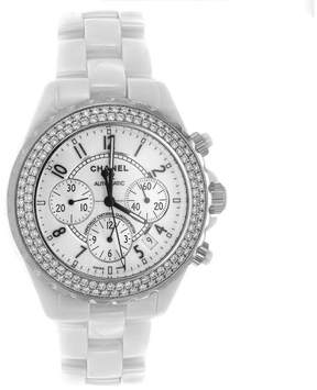 White Ceramic Chanel J12 with Factory Diamond Bezel