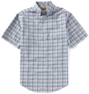 Roundtree & Yorke Gold Label Short-Sleeve Multi Plaid Sportshirt