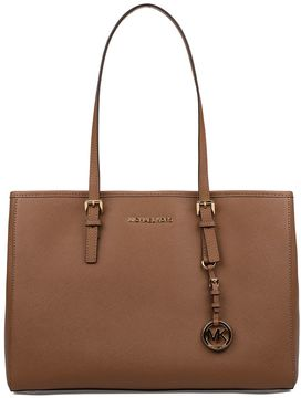 Michael Kors Luggage Large Jet Set Travel Saffiano Leather Tote - BROWN - STYLE