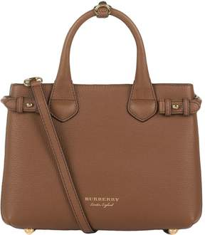 Burberry Small Banner House Check Detail Bag - BROWN - STYLE