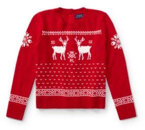 Ralph Lauren Reindeer Button-Back Sweater Red S