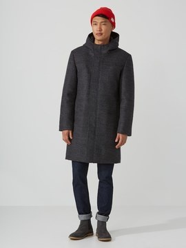 Frank and Oak Bonded-Wool Duffle Coat in Mixed Grey