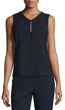 Armani Collezioni Textured Stretch-Wool Vest, Navy Blue