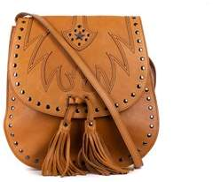 Roberto Cavalli Cognac Brown Leather Studded Cross Body Shoulder Bag