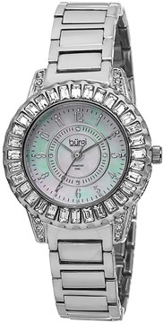 Burgi Silver-Tone Brass Mother of Pearl Dial Diamond Ladies Watch