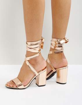 Park Lane Tie Ankle Block Metallic Heel Sandals