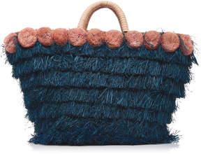 Kayu Lucca Pompom-Embellished Fringed Raffia Tote