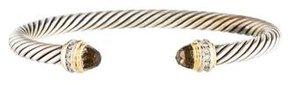David Yurman Two-Tone Diamond & Smoky Quartz Cable Classics Cuff Bracelet