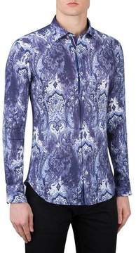 Bugatchi Men's Shaped Fit Paisley Print Linen Sport Shirt
