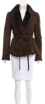 Barneys New York Barney's New York Belted Shearling Jacket