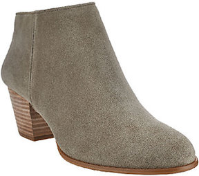 Sole Society Leather or Suede Stacked Heel Ankle Boots - Skye
