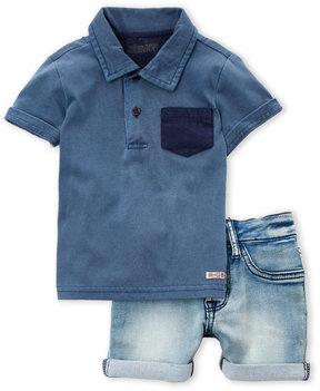 Hudson Infant Boys) Two-Piece Polo & Denim Shorts Set