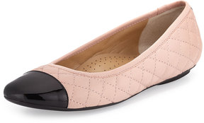 Neiman Marcus Saucy Quilted Leather Flat, Blush