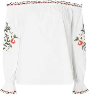 Dorothy Perkins Ivory Embroidered Frill Bardot Top