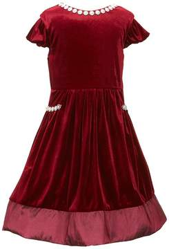 Rare Editions Little Girls 2T-6X Jewel-Trimmed A-Line Velvet Dress