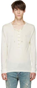 Balmain Off-White Lace-Up T-Shirt
