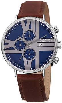 August Steiner Mens Brown Strap Watch-As-8212ssbu