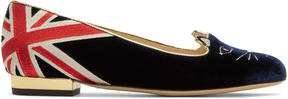 Charlotte Olympia Navy GB Kitty Flats