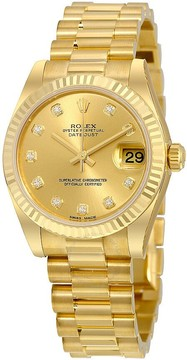 Rolex Lady-Datejust 31 Champagne Dial 18K Yellow Gold President Automatic Ladies Watch