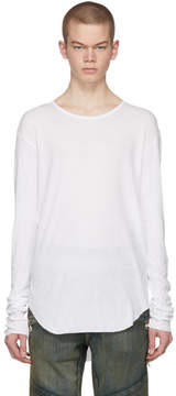 Balmain White Long Sleeve Ribbed T-Shirt