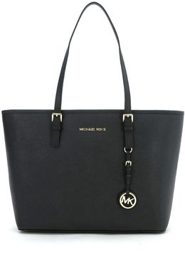 Michael Kors Jet Set Travel Shoulder Bag In Black Saffiano Leather - NERO - STYLE