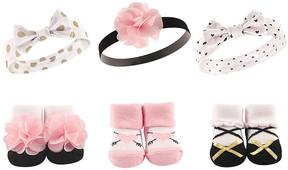 Hudson Baby Pink & Gold Headband & Socks Set - Infant