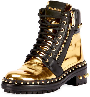 Balmain Studded Metallic Leather Combat Boot