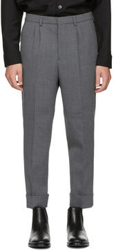 Ami Alexandre Mattiussi Grey Wool Carrot Fit Trousers