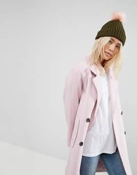 Asos Khaki with Pink Faux Fur Pom Beanie