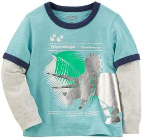 Osh Kosh Oshkosh Bgosh Toddler Boy Triceratops Dinosaur Mock-Layered Grahpic Tee