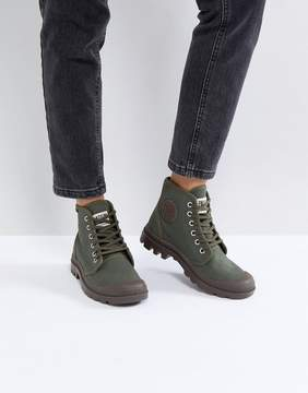 Palladium Pampa Hi Originale Olive Canvas Flat Ankle Boots