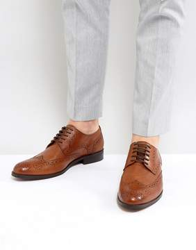 Dune Wing Tip Shoes Tan Leather