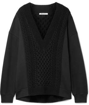 Alexander Wang Oversized Cable-knit Paneled Cotton-blend Sweater - Black