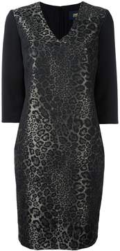 Class Roberto Cavalli animalier jacquard v-neck dress