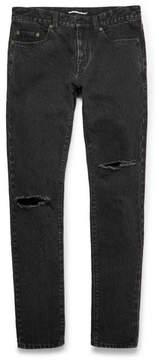 Saint Laurent Skinny-Fit 15cm Hem Distressed Stonewashed Denim Jeans
