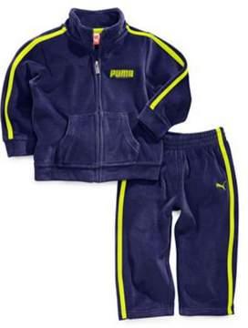 Puma Infant Boys 2 Piece Blue Green Striped Velor Jacket & Pants Set 24m