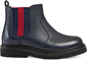 Gucci Toddler leather boot with Web