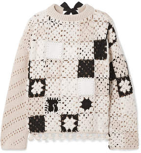 Altuzarra Coquelin Crocheted Wool, Calf Hair And Leather Sweater - Ivory