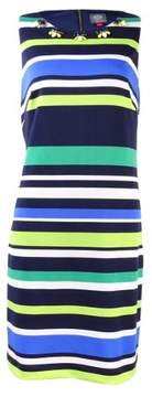 Vince Camuto Women's Sleeveless Embellished Striped Dress (6, Navy/Green)