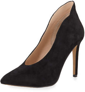 Neiman Marcus Leana Suede High Collar Pump, Black