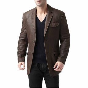 Asstd National Brand Leather Blazer Topcoat
