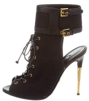 Tom Ford Lace-Up Peep-Toe Boots
