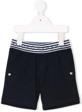 Versace logo striped trim shorts