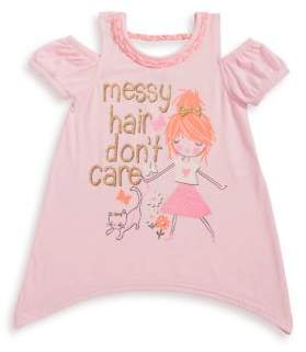 Nannette Little Girl's Messy Hair Graphic Cold-Shoulder Top