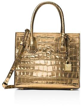 MICHAEL Michael Kors Studio Mercer Medium Embossed Leather Messenger - GOLD/GOLD - STYLE