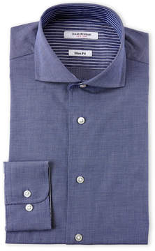 Isaac Mizrahi Navy & Striped Cuff Slim Fit Dress Shirt