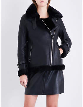 Claudie Pierlot Oversized shearling biker jacket