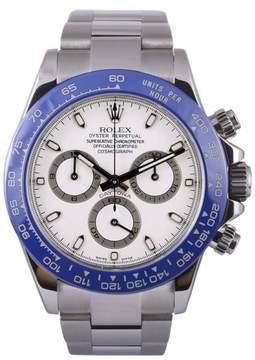Rolex Daytona 116520 Stainless Steel-White Dial-Blue Insert Chronograph 40mm Mens Watch